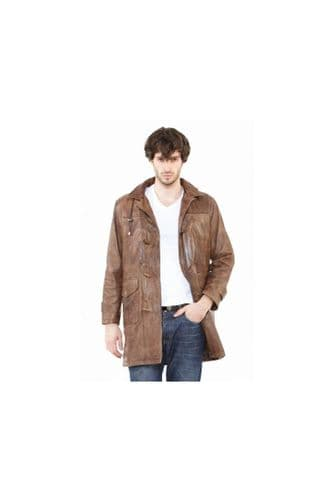 men's Leather coat in brown:e